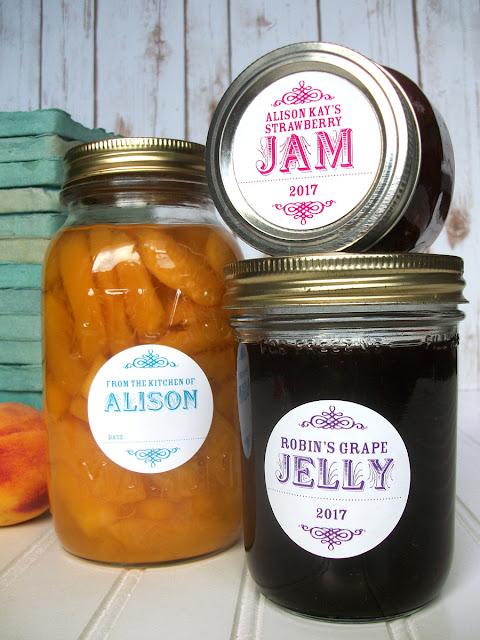 Colorful custom canning jar labels