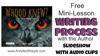 The nonfiction writing process for the owl book Whooo Knew includes audio clips