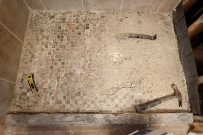 removing slate tile shower floor concrete