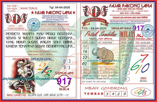 Prediksi SGP Sabtu 04 April 2020 - Fajar Pakong Lama
