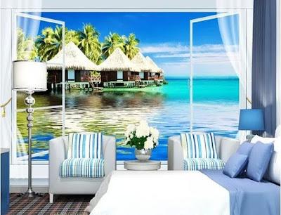 tropisk tapet fönster fototapet hav palmer fondtapet vardagsrum 3d tapet