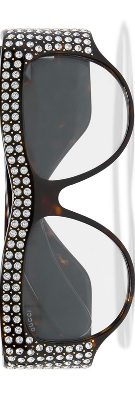 GUCCI D-Frame Crystal Embellished Acetate Sunglasses