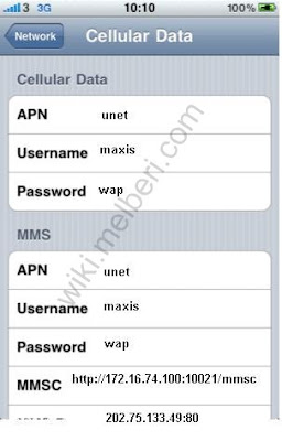 Maxis 3G MMS APN Settings for iPhone Malaysia