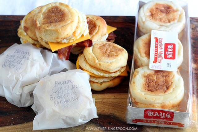 Make Ahead English Muffin Breakfast Sandwiches with Bacon, Egg & Cheddar