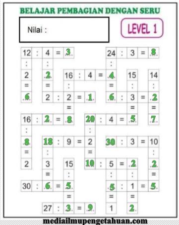 Kunci Jawaban Teka-Teki Silang TTS Pembagian Level 1 Matematika Kelas 4, 5, dan 6 SD-MI