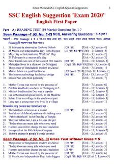 এস এস সি ইংরেজি ১ম পত্র সাজেশন ২০২০ | SSC English 1st Paper Suggetion 2020
