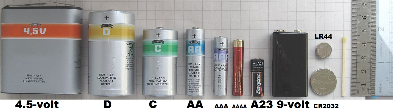Difference between AA, AAA, AAAA, A23, C, D, 4.5-volt, 9-volt batteries?