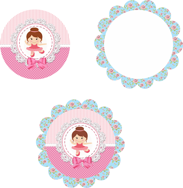 Ballerina Free Printable Toppers or Labels.