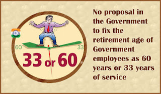 No proposal in the Government to fix the retirement age of Central Government employees as 60 years or 33 years of service