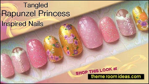 Tangled rapunzel princess nail designs disney princess tangled themed nails