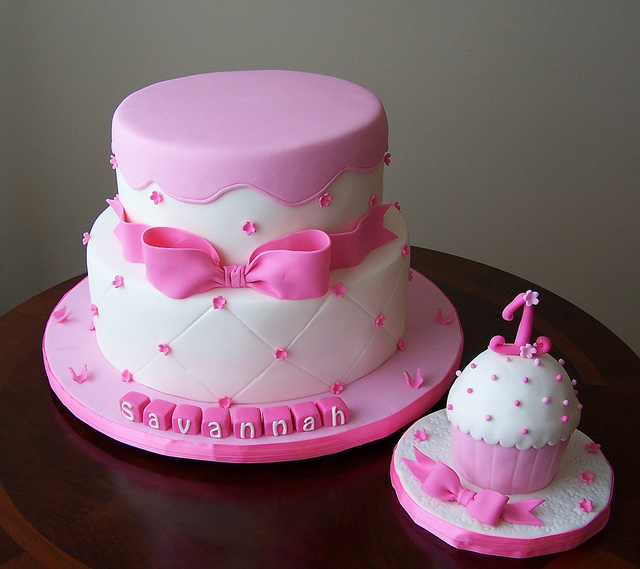 cake place pink first birthday cake with smash cake for girls. Black Bedroom Furniture Sets. Home Design Ideas