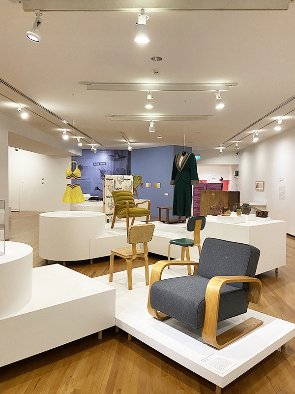 Different examples of mid-century modern chairs on display at the 'Modern in the Making: Post-War Craft and Design in British Columbia' exhibit at the Vancouver Art Gallery.