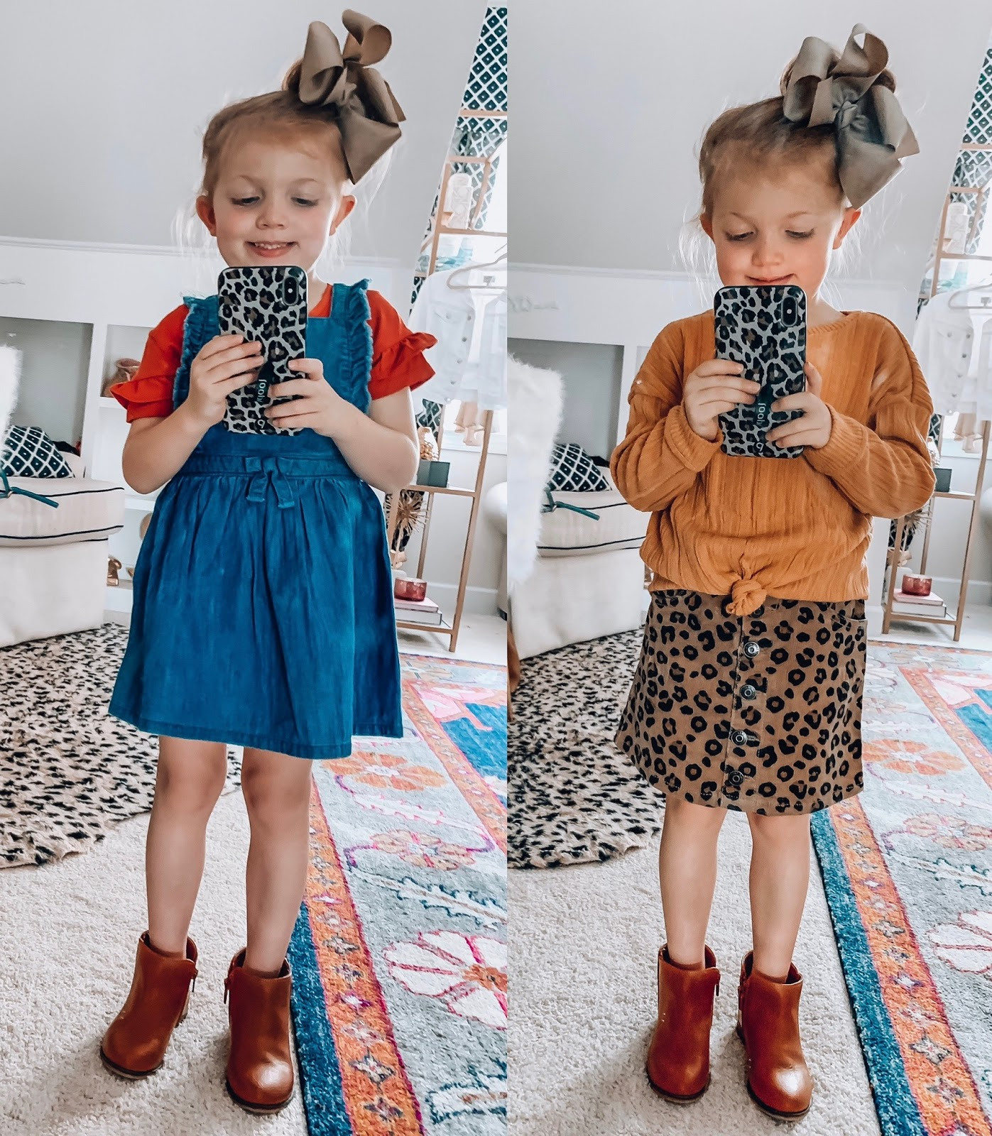 Target Fall 2019 Finds for Kids - Madeline's Picks - Chambray Dress and Ruffle Top Set, Knot Front Top with Corduroy Leopard Skirt - Something Delightful Blog #Kidsfallfashion