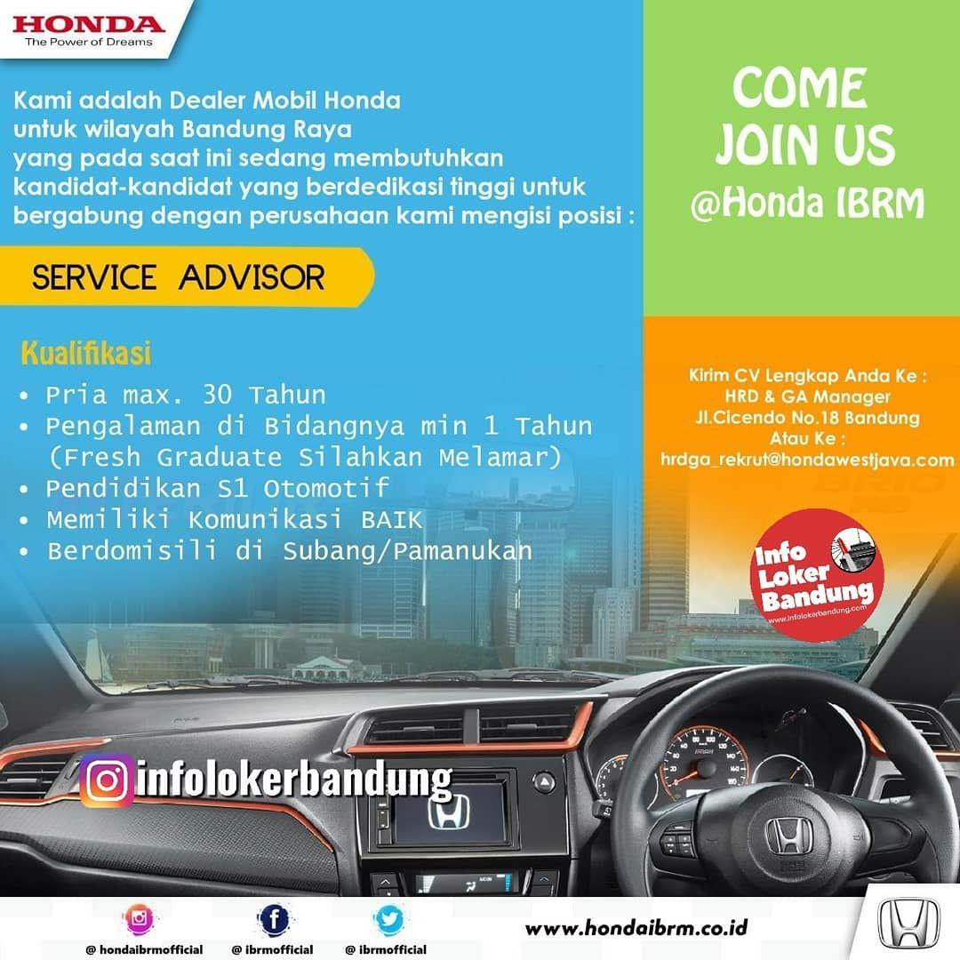 Lowongan Kerja Foreman Service Service Advisor Honda Ibrm Bandung Juli 2019 Info Loker Bandung 2021
