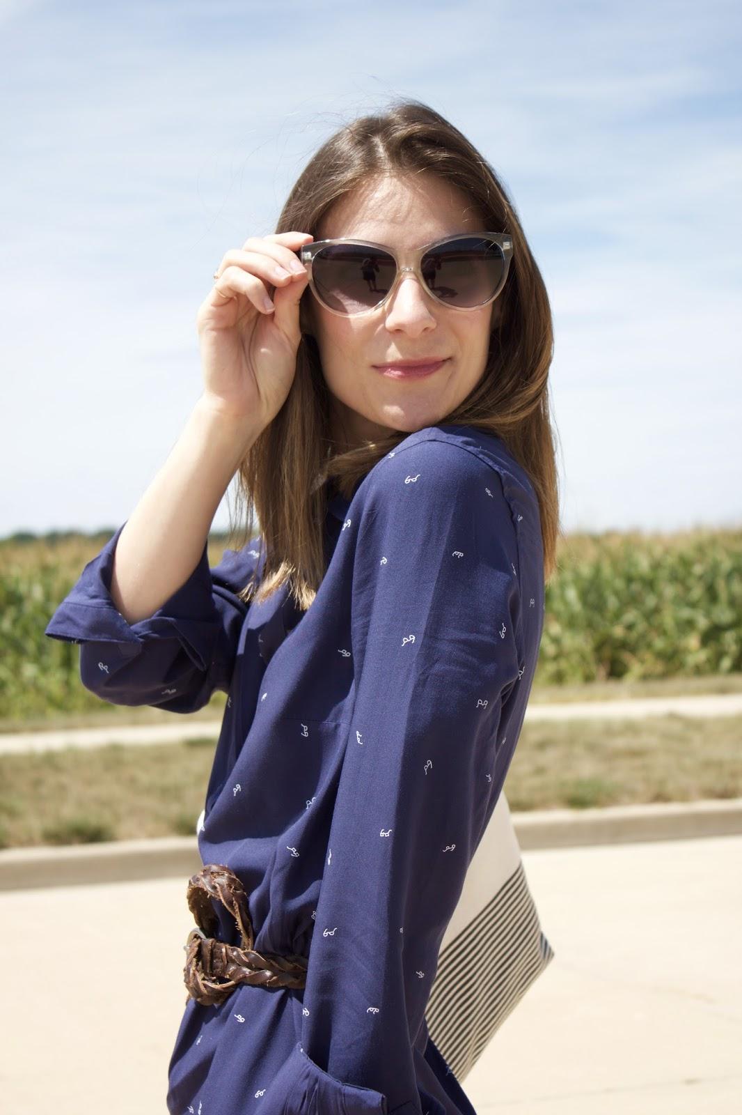 Sunglasses Print Shirt Dress