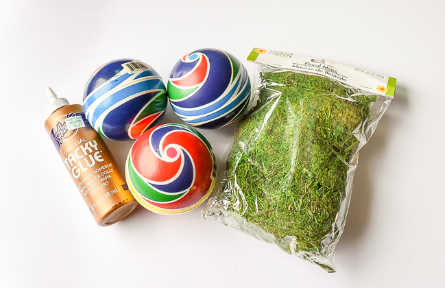 Supplies needed to make diy moss covered balls