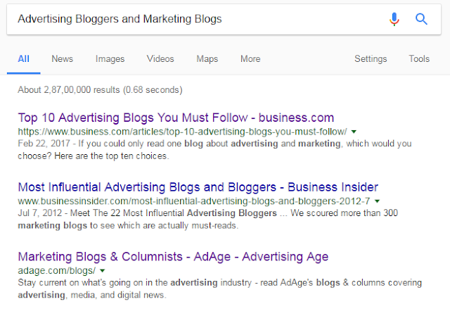 Advertising Bloggers and Marketing Blogs Search Results in Google