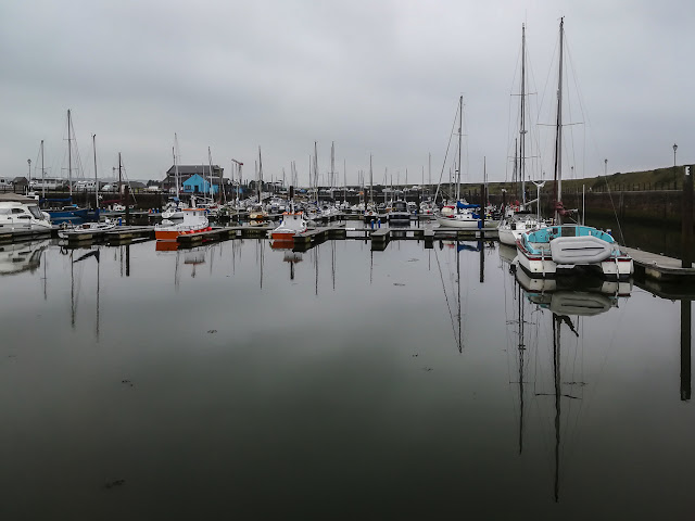 Photo of the calm water in Maryport Marina on our return