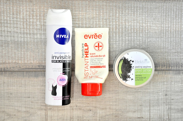 antyperspirant nivea invisible, krem do rąk evree instant help, peeling węglowy efektima efekt detox