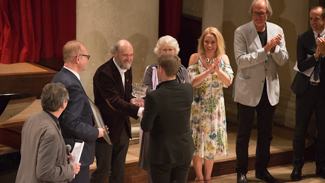 Peter Phillips, The Estonian Ambassador to the UK, HE Mr Lauri Bambus, Arvo Pärt, Jakob Hultberg, Ghislaine Morgan, Carolyn Sampson, Tönu Kajuste, Graham Ross at London International A Cappella Choral Competition 2017 (photo Amy Ryan Media)