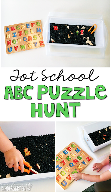 We LOVE this alphabet puzzle hunt sensory bin. Great for tot school, preschool, or even kindergarten!