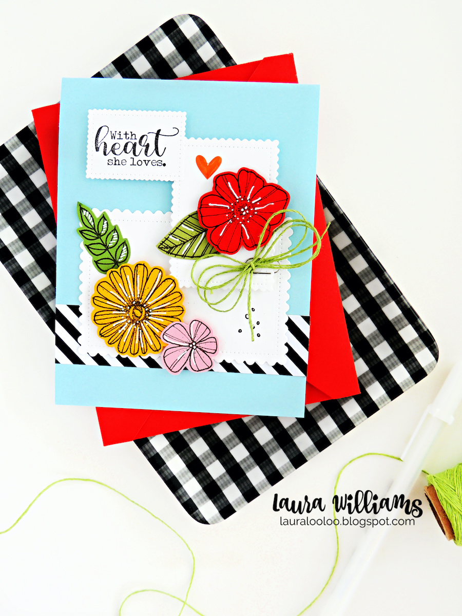 Make a summer time floral card using the Cute Scalloped Rectangles dies from Impression Obsession. Click to see more ideas with this card layout and these dies from Impression Obsession.