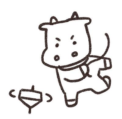 コマ回しをする牛のイラスト(丑年・白黒線画)