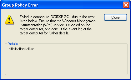 Initialization failed error with Gpresult and Rsop msc