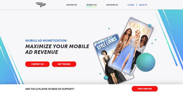 Tapjoy Website Homepage Screnshot
