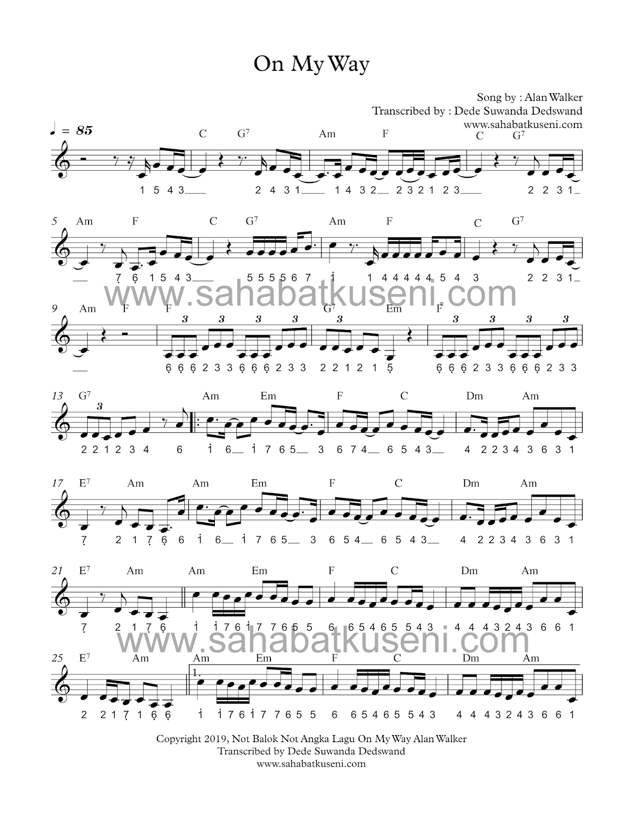 Not Pianika Lagu On My Way : pianika, Angka, Walker, Berikut, Balok, Chordnya, Sahabatku