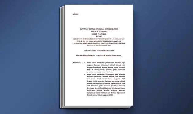 Kepmendikbud 746/P Tahun 2020 Tentang BOS Afirmasi dan BOS Kinerja Tahun Anggaran 2020