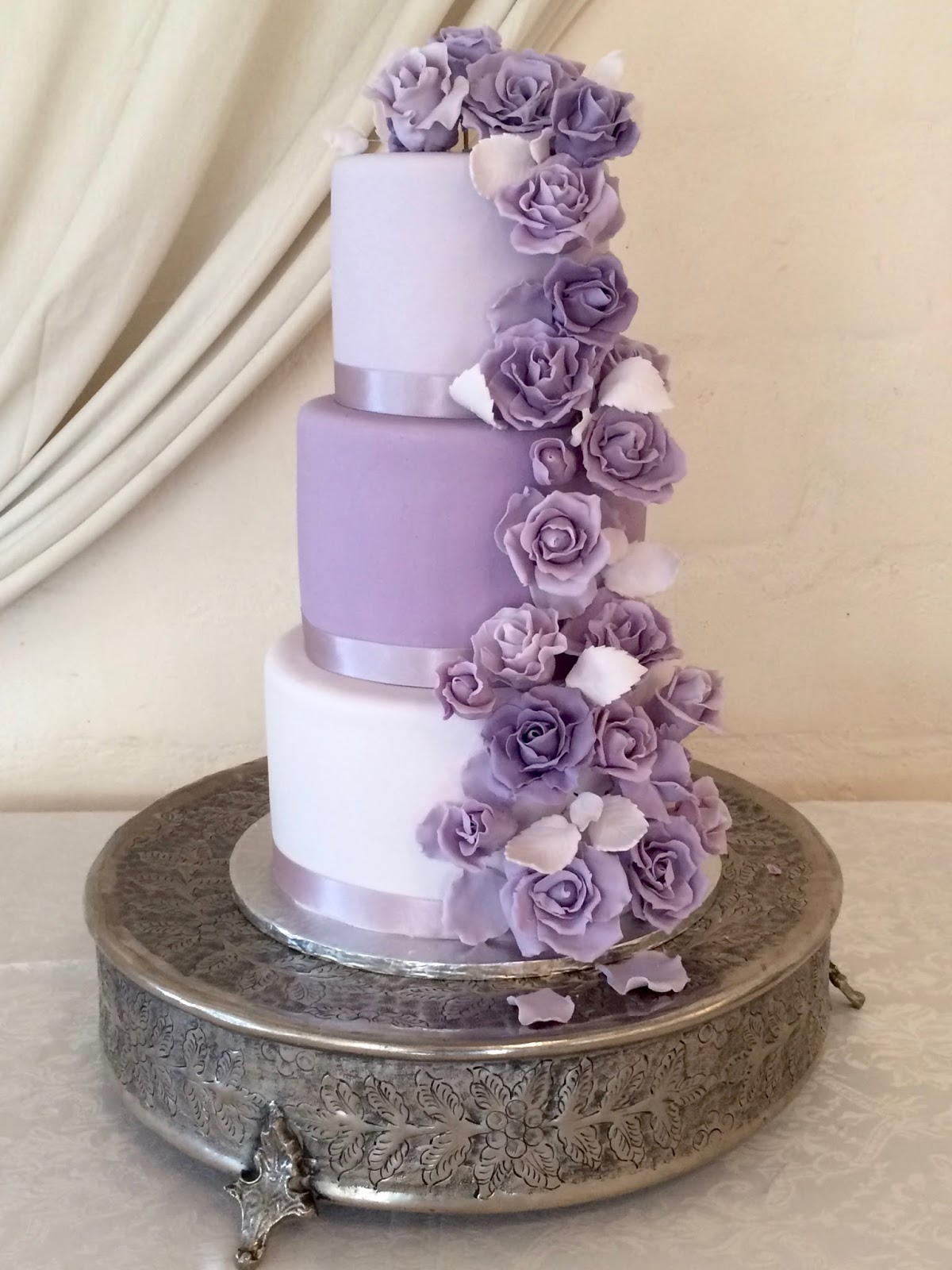 3 tier wedding cake with purple roses rozanne s cakes white and purple wedding cake 10348