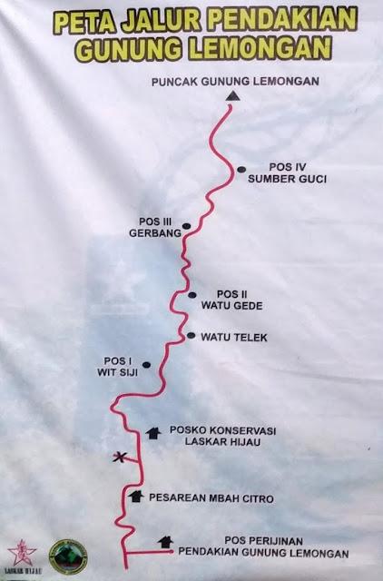 Peta Pendakian Gunung Lemongan via Klakah