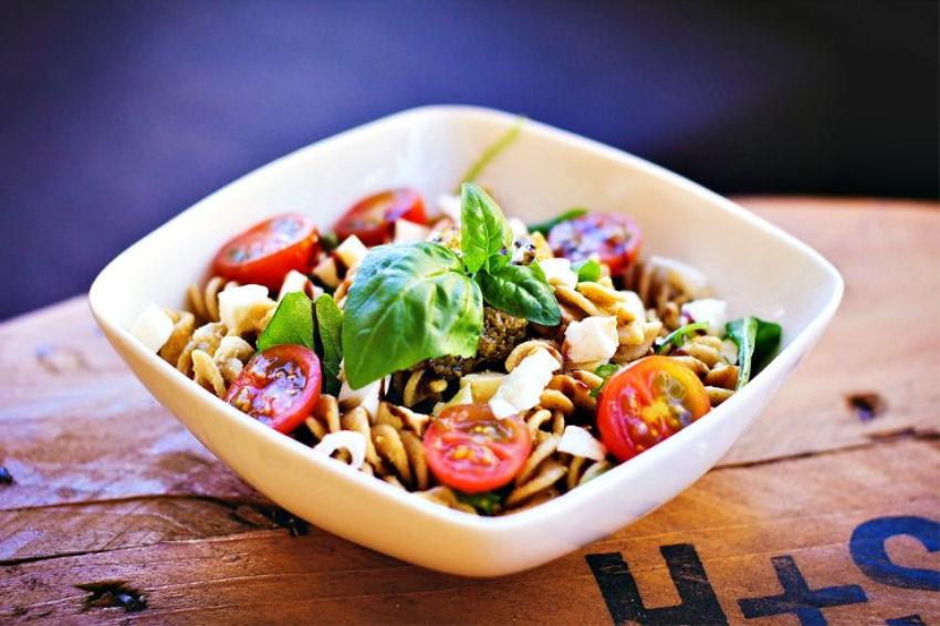 A bowl of chicken pasta salad