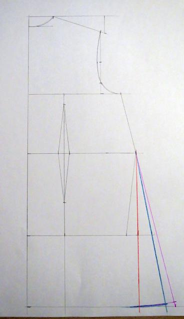 Diversas líneas para hacer evasé en la falda en la espalda