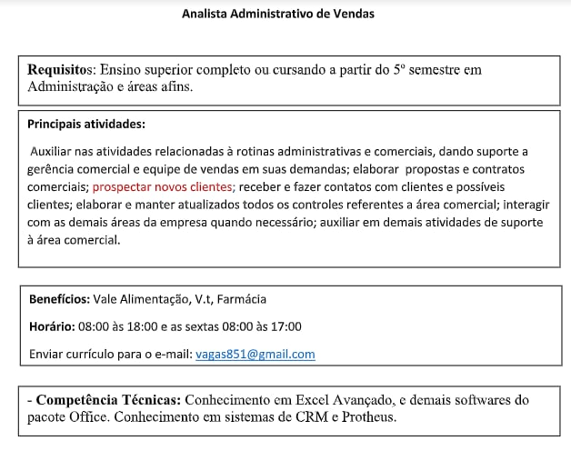 ANALISTA ADMINISTRATIVO DE VENDAS