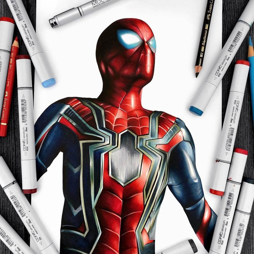 11-Spider-Man-Avengers-Infinity-War-Stephen-Ward-Movie-and-Comics-Superheroes-and-Villains-Drawings-www-designstack-co