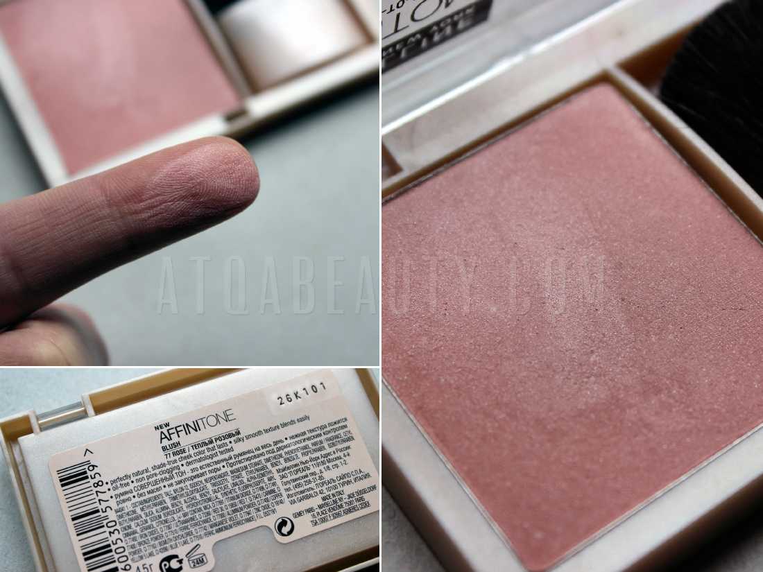 Maybelline, Affinitone, Perfecting + True-to-Color Blush, 77 Rose