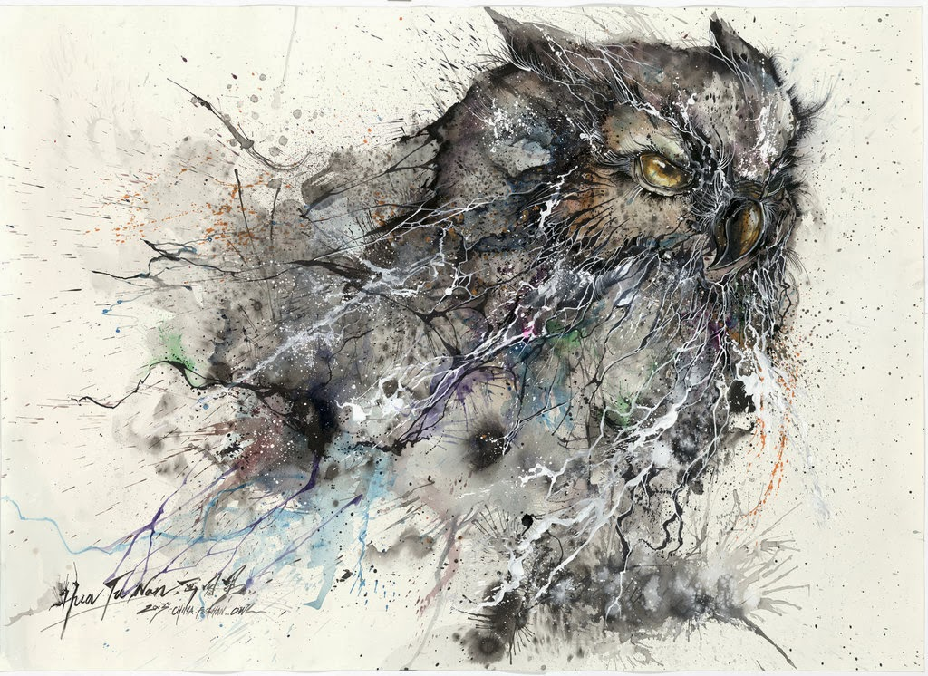 09-Owl-1-Hua-Tunan-huatunan-Melting-&-Running-Ink-Drawings-www-designstack-co