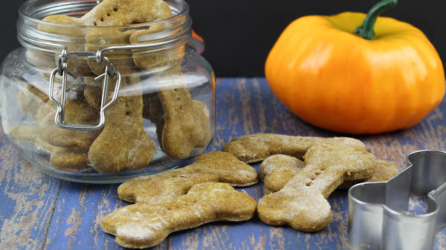 Tasty pumpkin peanut butter homemade dog treats for your furry friend.