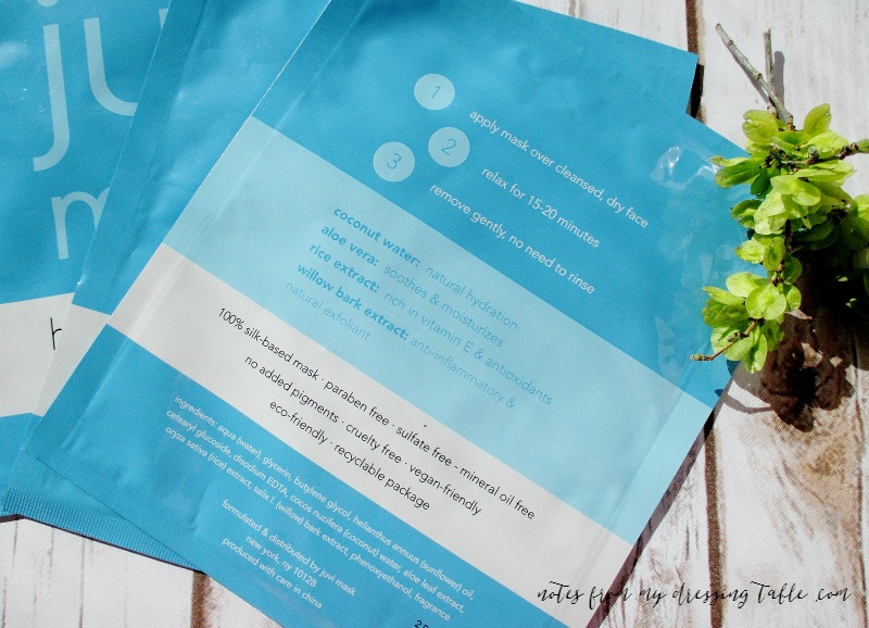 Juvi Mask Hydrating Facial Sheets | My Notes Details notesfrommydressingtable.com