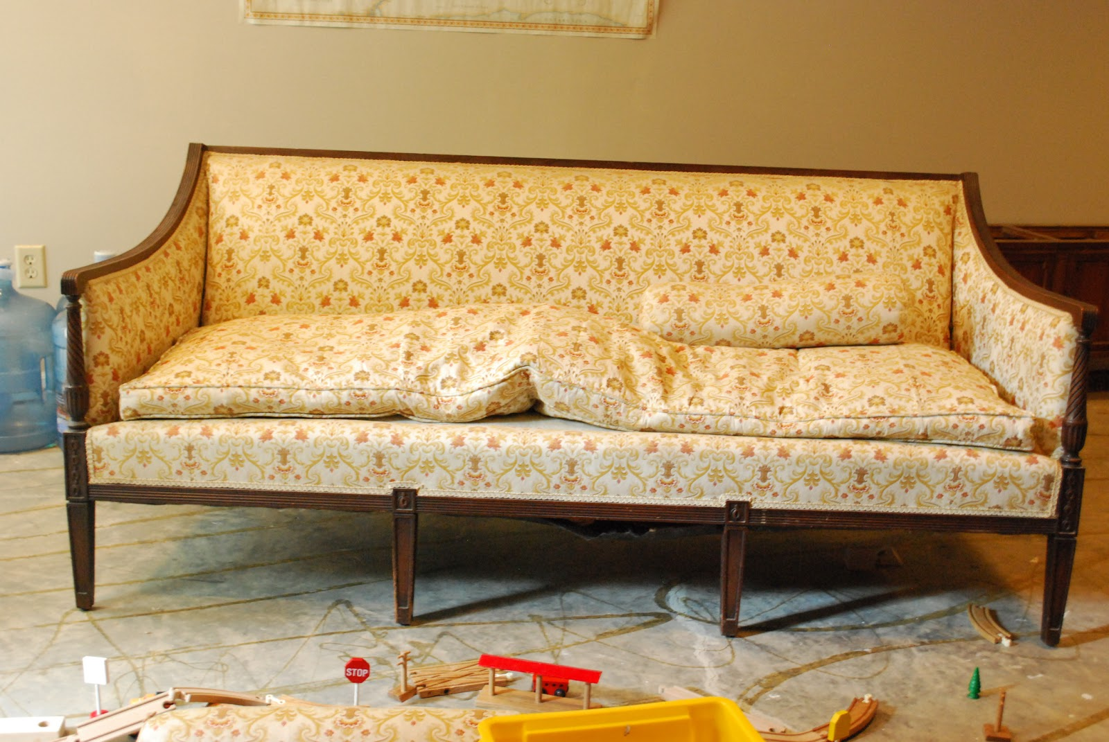 Between Blue and Yellow: Reupholstered Antique Sofa