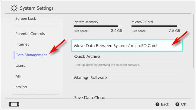 حدد إدارة البيانات على Nintendo Switch