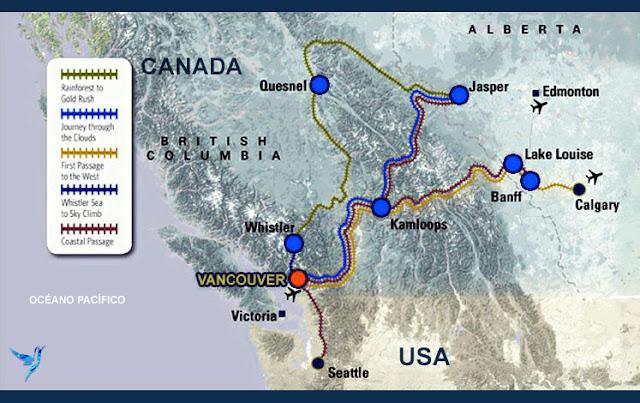 mapa de ruta de trenes Montañas Rocosas desde Vancouver, Canadá