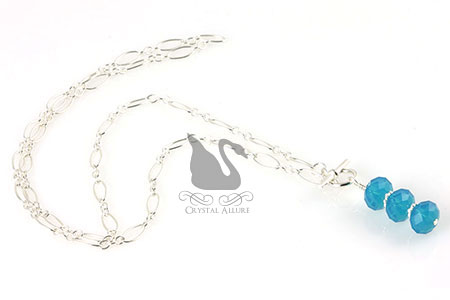 Caribbean Crystal Sterling Silver Chain Necklace (N073)
