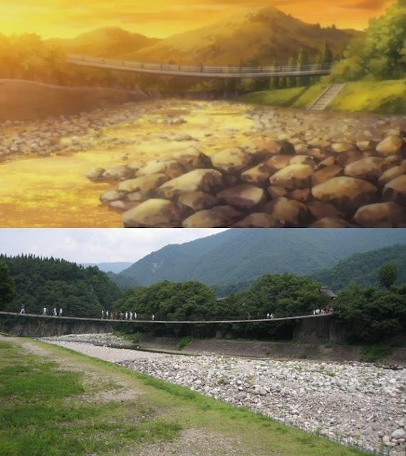Hanging Bridge Over the River - Shirakawa-Go, Higurashi: When They Cry, Hinamizawa