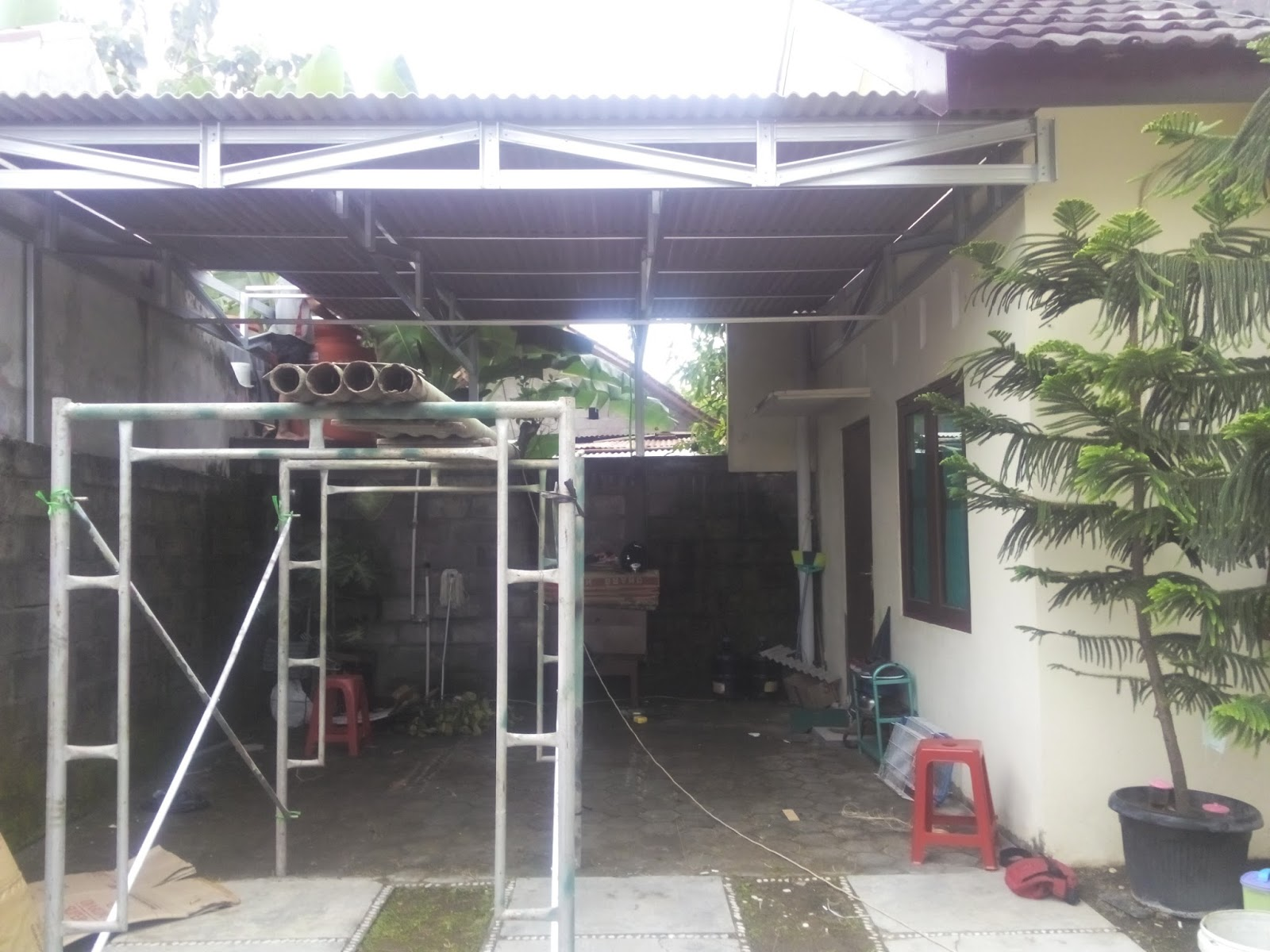 rangka kanopi jendela baja ringan pemasangan atap asbes - aditya ...