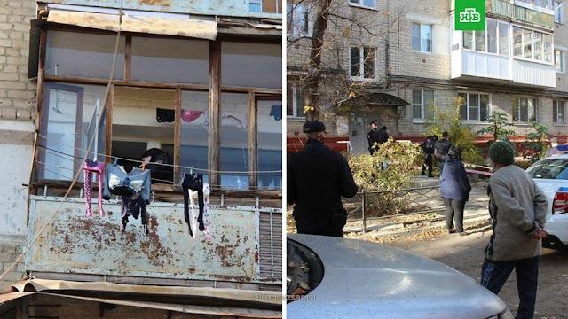 Жительница Саратова выкинула двоих своих детей с четвертого этажа и попыталась прыгнуть сама!