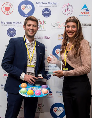 Anna-Christina from Music Audio Stories with Ben Sutcliffe Director of Executive Projects at Caudwell Children at the What's On 4 Kids Awards