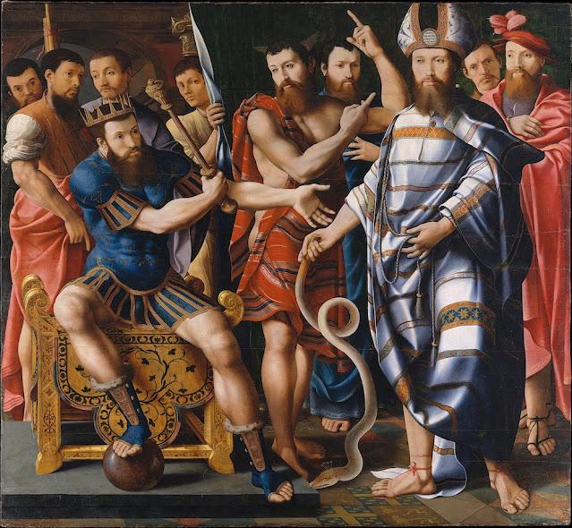 Félix Chrétien dit Bartholomeus Pons dit le Maître de Dinteville (actif de 1518 à 1541) Moïse et Aaron devant Pharaon, une allégorie de la famille de Dinteville, 1537 Huile sur bois 176.5 x 192.7 cm The Metropolitan Museum of Art